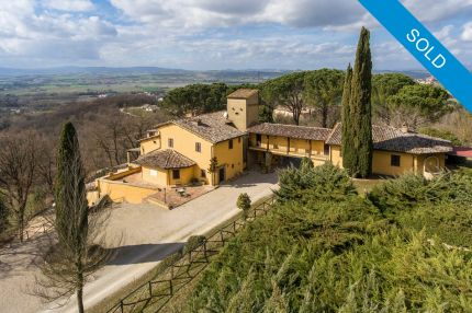 villa for sale between todi and perugia with vineyard and olive grove